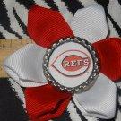 Sporty Bottlecap Flower MLB Baseball Cincinnati Reds Hair Bow ~ Free Shipping