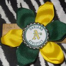 Sporty Bottlecap Flower MLB Baseball Oakland Athletics Hair Bow ~ Free Shipping