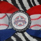 Sporty Bottlecap Bowtie MLB Baseball Texas Rangers Hair Bow ~ Free Shipping