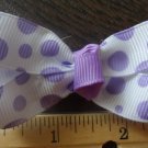 Simply Cute Purple Dots 3 x 1 inch Hair Bow Clip ~ Free Shipping
