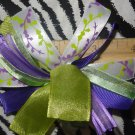 Cheer-riffic Pom Pom Purple Lime Green Vines 4 inch Hair Bow~Free Shipping