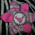 Sporty Bottlecap Flower NFL Football Houston Texans Pink Zebra Animal Print Hair Bow ~ Free Shipping