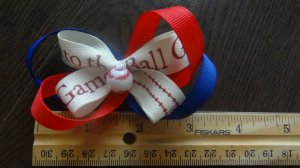Butterfly Bow Baseball Red Blue 3 inch Hair Bow on Lined Alligator Clip~ Free shipping
