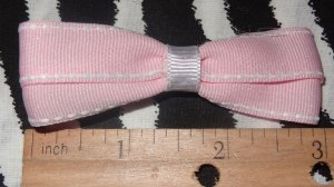 Simply Cute Pink with White Side Stitch 3 x 1 inch Hair Bow Clip ~ Free Shipping