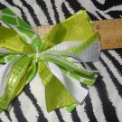 Cheer-riffic Pom Pom Lime Green Giraffe Animal Print Hair Bow on Lined Alligator Clip~Free Shipping