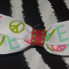 Simply Cute Love & Peace Signs 3 x 1 inch Hair Bow Clip ~ Free Shipping