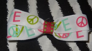 Simply Cute Love & Peace Signs 3 x 1 inch Hair Bow Clip ~ Free Shipping