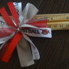 Cheer-riffic Pom Pom I Love Football Red & Gray Hair Bow on Lined Alligator Clip ~Free Shipping