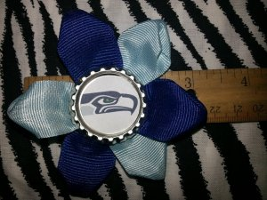 Sporty Bottlecap Flower NFL Football Seattle Seahawks Hair Bow ~ Free Shipping