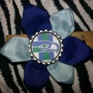 Sporty Bottlecap Flower NFL Football Seattle Seahawks Retro Hair Bow ~ Free Shipping