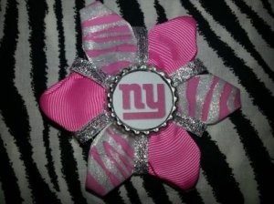 Sporty Bottlecap Flower NFL Football New York Giants Zebra Animal Print Hair Bow ~ Free Shipping