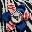 Sporty Bottlecap Flower NFL Football Houston Texans Zebra Animal Print Hair Bow ~ Free Shipping