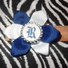 "Sporty Bottlecap Flower Rice University Owls ""R""  Hair Bow ~ Free Shipping"