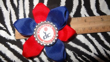 Sporty Bottlecap Flower NBA Basketball Washington Wizards Vintage Logo Hair Bow ~ Free Shipping