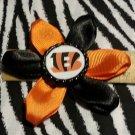 """Sporty Bottlecap Flower NFL Football Cincinnati Bengals """"B"""" Hair Bow ~ Free Shipping"""