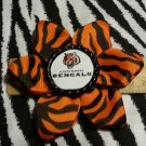 Sporty Bottlecap Flower NFL Football Cincinnati Bengals Tiger Animal Print Hair Bow ~ Free Shipping