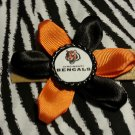Sporty Bottlecap Flower NFL Football Cincinnati Bengals Tiger Hair Bow ~ Free Shipping