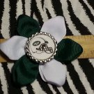 Sporty Bottlecap Flower NFL Football New York Jets Helmet  Hair Bow ~ Free Shipping