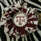 Sporty Bottlecap Fringe Flower NCAA Texas A&M Aggies Logo Hair Bow ~ Free Shipping