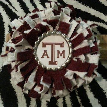 Sporty Bottlecap Fringe Flower NCAA Texas A&M Aggies Logo Hair Bow ~ Free Shipping