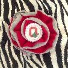 Sporty Bottlecap Fabric Flower NCAA Ohio State Buckeyes O Hair Bow ~ Free Shipping
