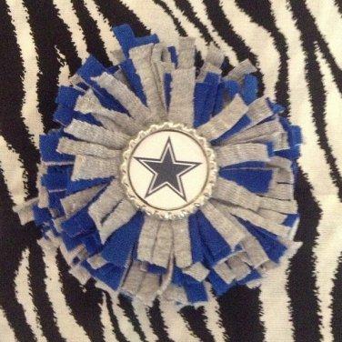 Sporty Bottlecap Fringe Flower NFL Football Dallas Cowboys Star Hair Bow ~ Free Shipping