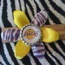 Sporty Bottlecap Flower NBA Basketball Los Angeles LA Lakers Zebra Animal Print Hair Bow ~
