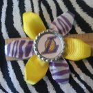 "Sporty Bottlecap Flower NBA Basketball Los Angeles LA Lakers ""L"" Zebra Animal Print Hair Bow ~"