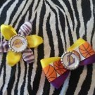 "Sporty Bottlecap Set NBA Basketball Los Angeles LA Lakers ""L"" Zebra Animal Print Hair Bow ~"