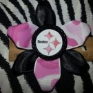Sporty Bottlecap Flower NFL Football Pittsburgh Steelers Pink Camo Black Hair Bow ~ Free Shipping