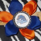 Sporty Bottlecap Flower NCAA Boise State Broncos Hair Bow ~ Free Shipping