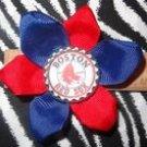 Sporty Bottlecap Flower MLB Baseball Boston Red Sox Hair Bow ~ Free Shipping