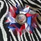 Bottlecap Flower FIFA World Cup USA Flag Heart Hair Bow ~ Free Shipping