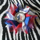 Bottlecap Flower FIFA World Cup USA Flag Star Hair Bow ~ Free Shipping