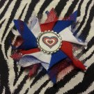 Bottlecap Flower Patriotic USA Heart Hair Bow ~ Free Shipping