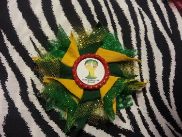 Bottlecap Flower FIFA World Cup 2014 Hair Bow ~ Free Shipping