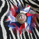Bottlecap Flower Patriotic USA Peace Sign Hair Bow ~ Free Shipping
