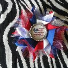 Bottlecap Flower Patriotic USA 4th July Hair Bow ~ Free Shipping