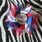 Bottlecap Flower Patriotic USA God Bless Hair Bow ~ Free Shipping