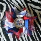 Bottlecap Flower Patriotic I Heart USA Hair Bow ~ Free Shipping