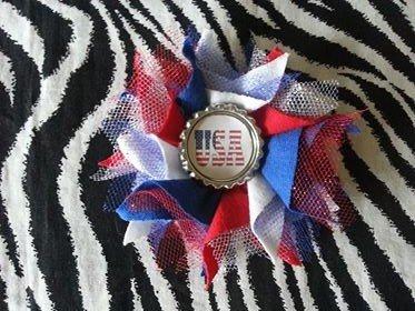 Bottlecap Flower Patriotic USA Hair Bow ~ Free Shipping