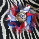 Bottlecap Flower Patriotic USA Air Force Star Hair Bow ~ Free Shipping
