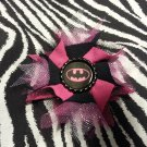 Bottlecap Flower Pink Batman / Batgirl Hair Bow ~ Free Shipping