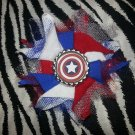 Bottlecap Flower Captain America Hair Bow ~ Free Shipping