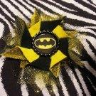 Bottlecap Flower Black Logo Batman Hair Bow ~ Free Shipping