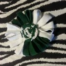 Loopy Flower White Green Hair Bow ~ Free Shipping