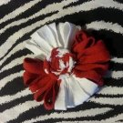 Loopy Flower White Red Hair Bow ~ Free Shipping
