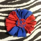 Loopy Flower Red Blue Hair Bow ~ Free Shipping