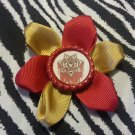 Bottlecap Flower The Walking Dead Bleeding Sherriff Badge Hair Bow ~ Free Shipping
