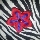 Fabric Flowers Red Blue Rhinestone 3 inch Hair Bow~Free Shipping